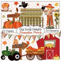 Pumpkin Patch Clip Art Autumn Pumpkins Corn by DigiScrapDelights,   ncludes  ~ 1 Barn  ~ 1 Tractor  ~ 1 Fence  ~ 1 Corn Field  ~ 1 Wagon  ~ 1 Hay, pumpkin cluster   ~ 1 Scarecrow  ~ 2 Owls   ~ 2 Crows  ~ 2 Signs  ~ 1 Word art  ~ 10 Leaves  ~ 1 Sunflower