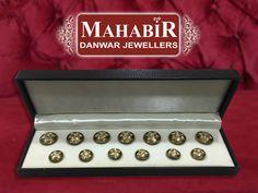 Ethnic PARTAAZ work 22K Gold Diamond Polki Buttons Set