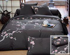 linge de lit percale fleurs brodées - Becquet