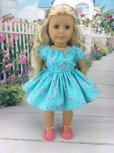 18 inch doll dress to fit american girl size doll. Flamingo