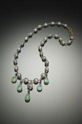 Peruvian Opal, Sapphire, and Akoya Pearl 18 Karat Gold Necklace - Available Gallery - Paul Farmer Goldsmith Peruvian Opal, Farmer, Jewelry Art, Turquoise Bracelet, Sapphire, Gold Necklace, Pearls, Gallery, Bracelets