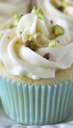 Key Lime Cupcakes with White Chocolate Frosting and Salted Pistachios Recipe