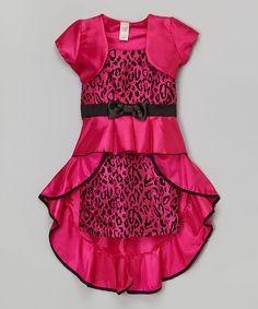 Loving this Pink Leopard Bow Dress & Bolero - Girls on #zulily! #zulilyfinds