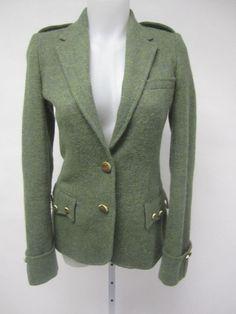 RALPH LAUREN Green Wool Alpaca Wooden Button Closure Blazer Jacket Size 2 at www.ShopLindasStuff.com