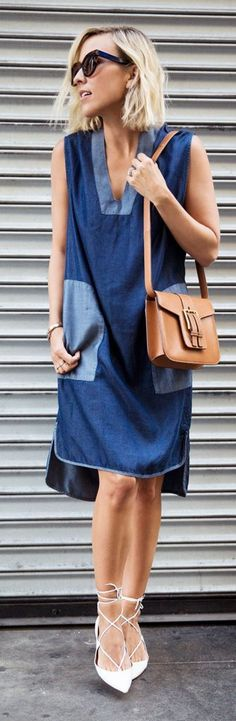 Patched Denim Dress Summer Chic Style - Damsel In ...