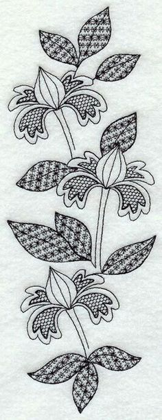 Blooming Spray (Blackwork) Still thinking about longarm quilting designs in the back of my mind with this Bordado Jacobean, Jacobean Embroidery, Blackwork Embroidery, Embroidery Applique, Cross Stitch Embroidery, Machine Embroidery Designs, Embroidery Patterns, Blackwork Patterns, Cross Stitching