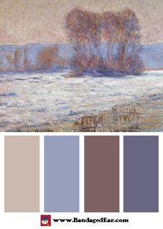 Color Palette: The Seine at Bennecourt, Winter, by Claude Monet - BandagedEar.com