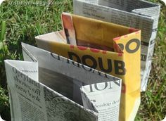 Many ideas for things to do with/make out of newspaper including storage baskets, gift bags, wreaths, newspaper nails, etc.
