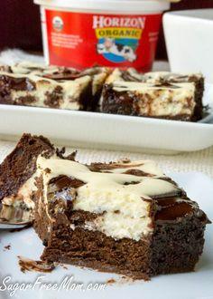 Sugar-Free Flourless Cheesecake Brownies-gluten free, low carb - sugarfreemom.com #horizonorganic @hori