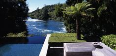 Huka Lodge, New Zealand- The Owners Cottage- Infinity Pool Huka Lodge, Wonderful Places, Beautiful Places, Lake Forest, My Happy Place, Lodges, New Zealand, Places To Go, Scenery