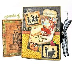 Have you avoided making mini albums or folios because they look too complicated, take too long or are too expensive to make?  Well, this Autumn Time Folio can be completed in a flash and uses just four sheets of Graphic 45 paper, a few sheets of kraft cardstock, a handful of Black Staples square tags! This fun seasonal folio by Kathy Clement features ABC Primer–DCE and is as simple to make as it is fun, and is perfect for the little scholars in your lives…