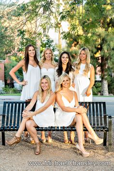 Fun College Senior Graduation Grad portrait photo ideas at Tucson The University of Arizona campus in Tucson AZ Arizona taken by Michael Chansley Photography Cap and Gown college Old Main Fountain group sorority friends guys girls UofA High School group girl guy pose poses photographer idea ideas bottles of champagne spray spraying chemistry building chem major elder hemmel