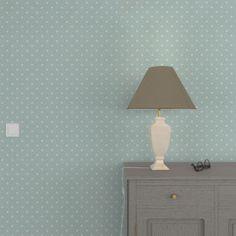 Laissez-vous séduire par l'intissé MILLIE.   Des pois blancs se dessinent sur vos murs sur un fond vert céladon. Les couleurs, à la fois douces et froides, rafraîchissent votre intérieur avec beaucoup de délicatesse et de charme. Ce modèle crée une ambiance romantique, emplie de quiétude et de sérénité.