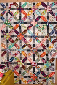 x plus progress by Bijou Lovely, via Flickr: I love the fabric arrangement: