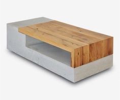 Wood Furniture PASTARRO concrete coffee table 'Pernstein' – waste wood and concrete from regional, sustainable