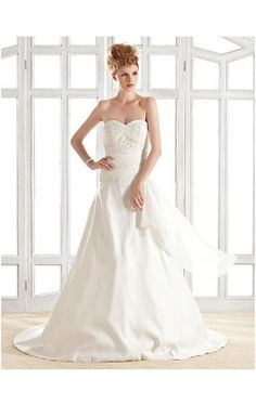 A-line Strapless Sweetheart Court Train Satin Wedding Dress