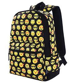 2dbf75be90e0 Coofit Cute Emoji Backpack for Kids Cool Backpack Purse Book Bag School Bag  Black --