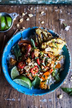 30 Minute Sweet Thai Chili Peanut Chicken and Grilled Pineapple Stir Fry by halfbakedharvest #Chicken #Chili #Peanut #Pineapple #Thai #Stir_Fry #Fast