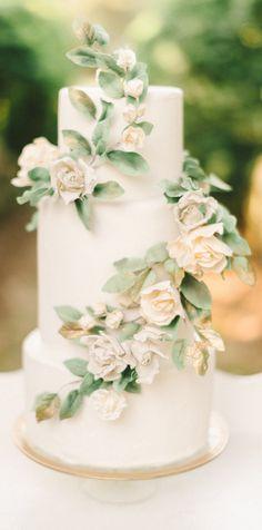 Soft Greenery Wedding Cake