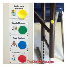 Use with kagan color mats! job managers to all students in the classroom to help with classroom management. Their are four students to a table and each student has a different color job. Classroom Helpers, Classroom Jobs, Classroom Organisation, Room Organization, Classroom Activities, Elementary Art Rooms, Art Lessons Elementary, Art Room Posters, Jobs In Art