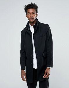 Bellfield   Bellfield Black Wool Overcoat With Nylon Inlay