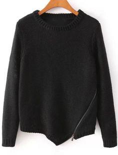 Black Long Sleeve Zipper Knit Sweater - Sheinside.com