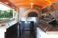 Pizza Van - Mobile pizza trucks and Pizza Pilgrims Pizza Menu Design, Food Cart Design, Food Truck Design, Wood Pizza, Wood Fired Pizza, Food Truck Interior, Trailer Interior, Pizza Station, Mobile Pizza Oven