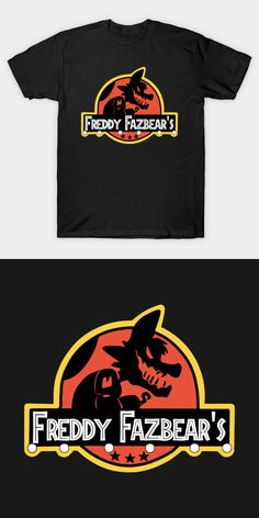 Five Nights at Freddy's Jurassic Park T Shirt | Freddy Fazbear's Pizza in the style of the famous dinosaur movie logo. This design features the silhouette of Foxy the Pirate. | Visit http://shirtminion.com/2016/07/five-nights-at-freddys-jurassic-park-t-shirt/