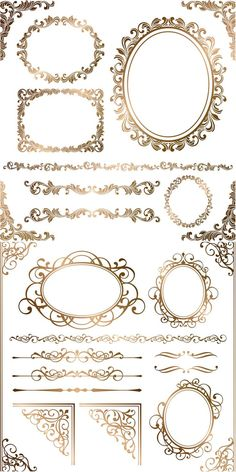 Baroque floral frames, corners and borders vector: