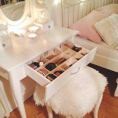 Makeup Vanity Bedroom toward Makeup Forever Ivory Beige as Makeup Storage My New Room, My Room, Rangement Makeup, Make Up Storage, Storage Ideas, Vanity Room, Closet Vanity, Makeup Rooms, Room Goals