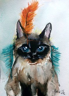 Buy Skvo, a Watercolor on Paper by Jelena Nova from Estonia. It portrays: Animal, relevant to: funny cat, Native American, big blue eyes, Siamese cat, watercolor cat painting, skvo, orange feather, cat dressed up A funny cat illustration, watercolor painting on good quality paper that was inspired by the nature itself. Sometimes I look at things and my imagination starts to draw a story or an image around it.