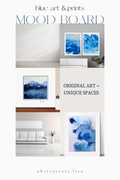 Blue Wall Decor, Abstract Art For Sale, Affordable Wall Art, Modern Art Paintings, Mood, Blue Art, Free Prints, Wall Hangings, Live