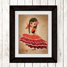 This item is unavailable Toddler Girl Gifts, Spanish Dancer, All Print, Print Print, Flamenco Dancers, Girl Decor, Pigment Ink, Baby Prints, Wall Art