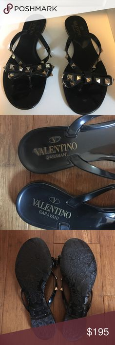 Valentino Rockstud Flip Flops 36 Black Valentino Rockstud flats in great condition. Bought these on a whim and have only worn them once. They're beautiful and all the original studs are in place. The only defect is the smearing of the logo on the left sandal. Guaranteed authentic but unfortunately no box or dust bag. Purchased from Nordstrom for $295 No Trades (except Gianvito Rossi plexi pump in 36 or 36.5) Valentino Shoes Sandals