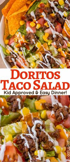 Doritos Taco Salad is the perfect weeknight meal or lunch your kids will love and its perfect for taco night leftovers!     via @foodfunkids
