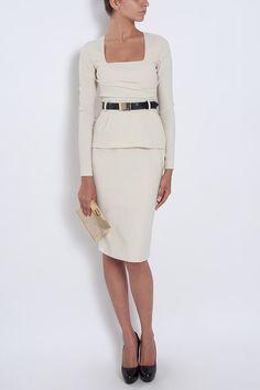 Ayo Peplum Dress, worn. Great square neckline