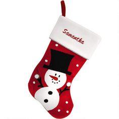 Personalized Snowman Velvet and Fleece Stocking