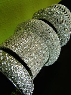 rhinestone bangle bracelets--who doesn't love bling, bling that's not a million dollars, but looks like it. Bling Bling, The Bling Ring, Bling Jewelry, Jewelry Box, Vintage Jewelry, Jewelry Accessories, Fashion Accessories, Jewlery, Fashion Shoes