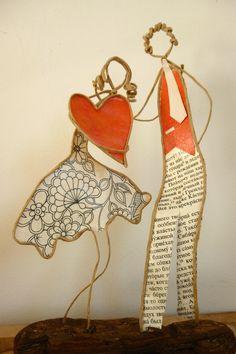Escapade amoureuse - figurines en ficelle et papier : Accessoires de maison par ficelleetpapier