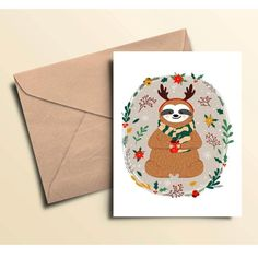 Merry Christmas Sloth Cards by MyGenerationShop on Etsy