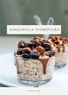Kanelipulla-tuorepuuro - Vege it! Cereal, Breakfast, Food, Morning Coffee, Essen, Meals, Yemek, Breakfast Cereal, Corn Flakes