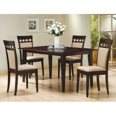 Set of 2 Cappuccino Finish Wood w/Microfiber Seat Dining Chairs This is a set of 2 contemporary style dining chairs.