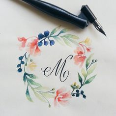 Caligrafía Y Lettering Caligrafía y Lettering amazing woman velvet trousers - Woman Trousers Wreath Watercolor, Watercolor Cards, Watercolor Flowers, Drawing Flowers, Art Flowers, Pink Flowers, Painting & Drawing, Watercolour Painting, Wreath Drawing