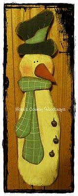 Tall Hand Painted Wood Snowman with rusty bells
