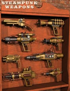 A steampunk gunrack? But I don't even own AH steampunk gun, let alone MANY steampunk guns, that would necessitate a steampunk gun rack. Arma Steampunk, Steampunk Kunst, Steampunk Weapons, Style Steampunk, Steampunk Gadgets, Steampunk Gears, Steampunk Cosplay, Steampunk Design, Steampunk Fashion