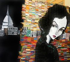 Mike Stilkey; illustration on book wall
