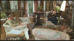 """Out of Africa"" - Klaus Maria Brandauer (as Baron Bror Blixen) & Meryl Streep (as Karen Blixen) in the British Colonial interior modeled after Blixen's coffee plantation home in Kenya."