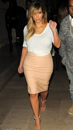 Trendsetter: Kim Kardashian wore a similar PVC skirt a couple of weeks ago in Paris, France