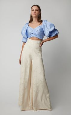 Get inspired and discover Johanna Ortiz trunkshow! Shop the latest Johanna Ortiz collection at Moda Operandi. Classy Outfits, Casual Outfits, Cotton Crop Top, Wide Leg Pants, Casual Chic, Chiffon Tops, Ideias Fashion, Summer Outfits, Fashion Dresses