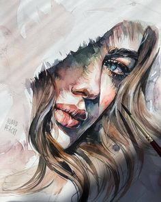 Watercolor painting by Humid Peach. Humid Peach is the name of the artist whose real name is Ksenia Kondyleva. Continue Reading and for more watercolor art → View Website Watercolor Artwork, Watercolor Portraits, Painting Art, Watercolor Face, Arte Sketchbook, Aesthetic Art, Aesthetic Drawing, Portrait Art, Portrait Ideas